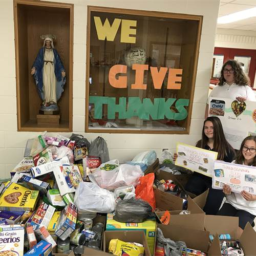 Our Lady of Peace holds Thanksgiving food drive for Mission Services